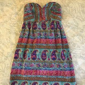 Anthropologie - Maple 100% silk strapless dress